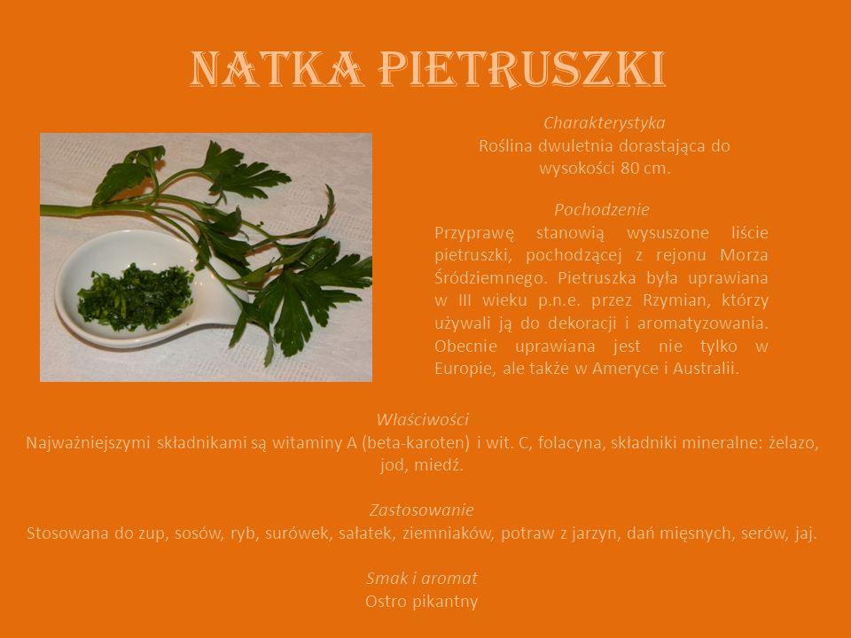 NATKA PIETRUSZKI Charakterystyka Roślina dwuletnia dorastająca do wysokości 80 cm.