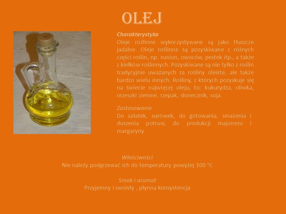 OLEJ Charakterystyka Oleje roślinne wykorzystywane są jako tłuszcze jadalne. Oleje roślinne są pozyskiwane z różnych części roślin, np. nasion, owoców