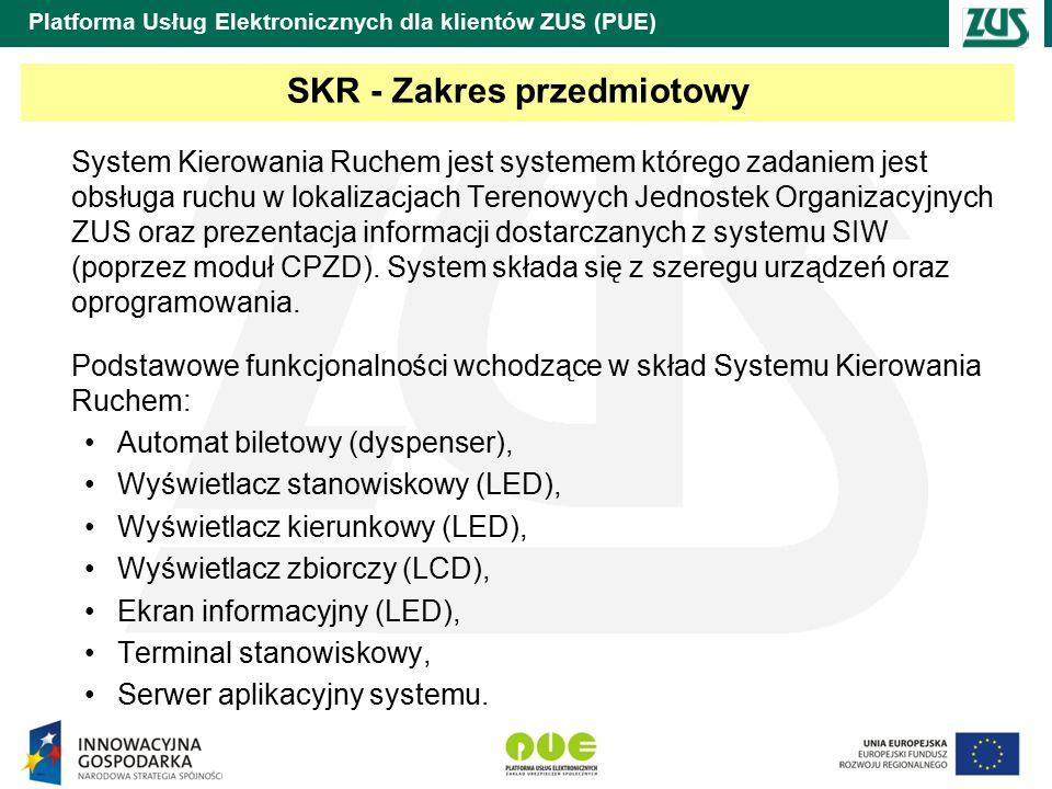 Platforma Usług Elektronicznych dla klientów ZUS (PUE) SKR - Zakres przedmiotowy System Kierowania Ruchem jest systemem którego zadaniem jest obsługa ruchu w lokalizacjach Terenowych Jednostek Organizacyjnych ZUS oraz prezentacja informacji dostarczanych z systemu SIW (poprzez moduł CPZD).