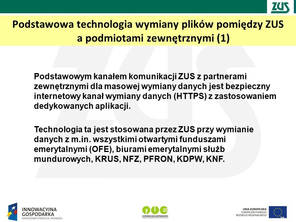 Podstawowa technologia wymiany plików pomiędzy ZUS a podmiotami zewnętrznymi (1) 29 Podstawowym kanałem komunikacji ZUS z partnerami zewnętrznymi dla masowej wymiany danych jest bezpieczny internetowy kanał wymiany danych (HTTPS) z zastosowaniem dedykowanych aplikacji.