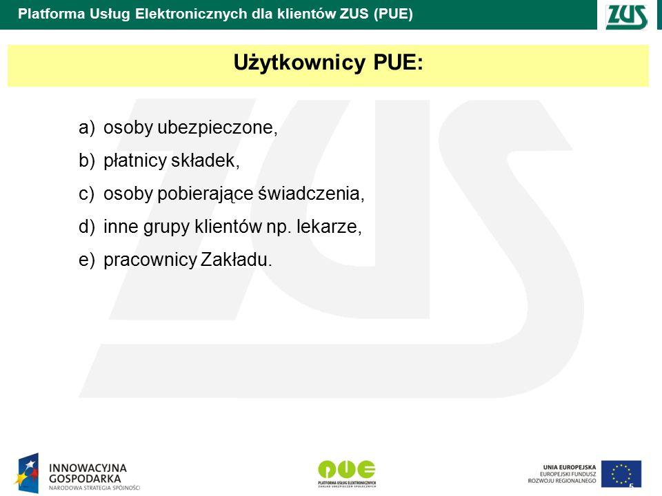 5 Platforma Usług Elektronicznych dla klientów ZUS (PUE) Użytkownicy PUE: a)osoby ubezpieczone, b)płatnicy składek, c)osoby pobierające świadczenia, d)inne grupy klientów np.