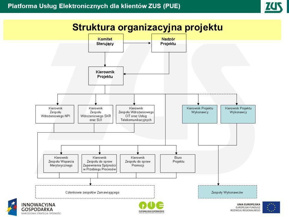 Platforma Usług Elektronicznych dla klientów ZUS (PUE) Struktura organizacyjna projektu