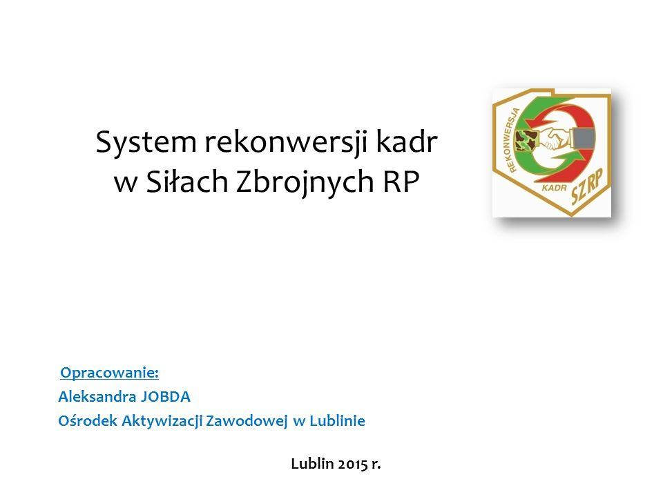 System rekonwersji kadr w Siłach Zbrojnych RP Opracowanie: Aleksandra JOBDA Ośrodek Aktywizacji Zawodowej w Lublinie Lublin 2015 r.