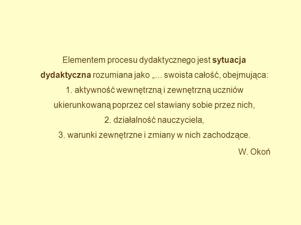 """Elementem procesu dydaktycznego jest sytuacja dydaktyczna rozumiana jako """"..."""
