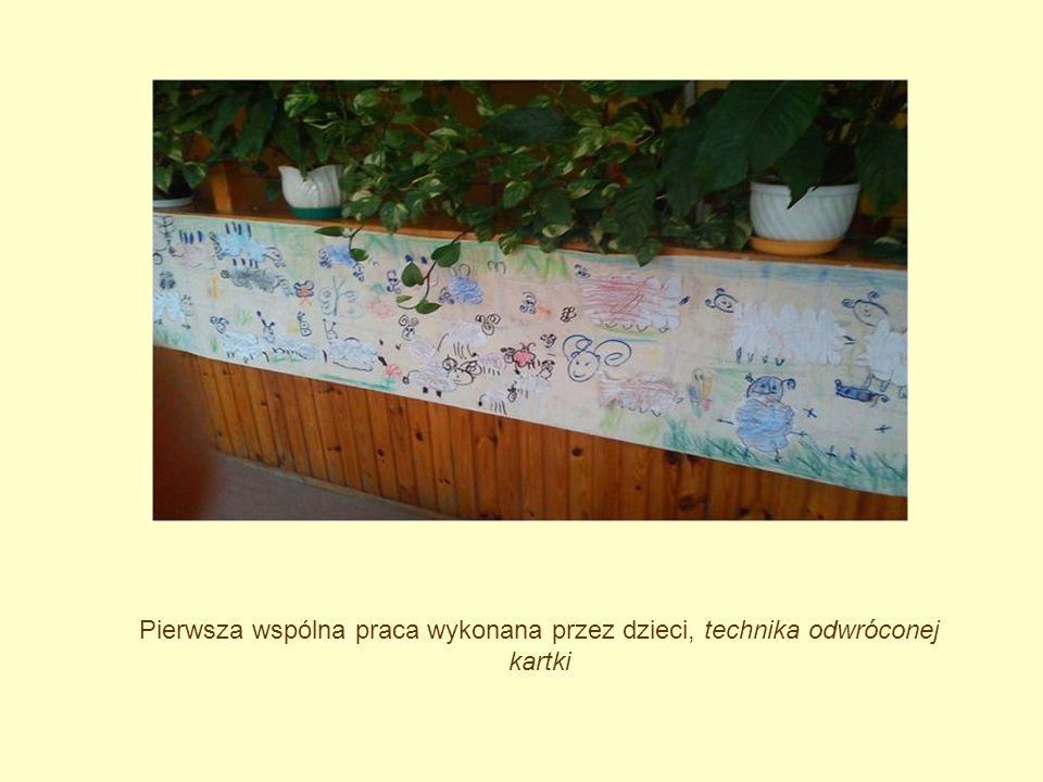 Pierwsza wspólna praca wykonana przez dzieci, technika odwróconej kartki