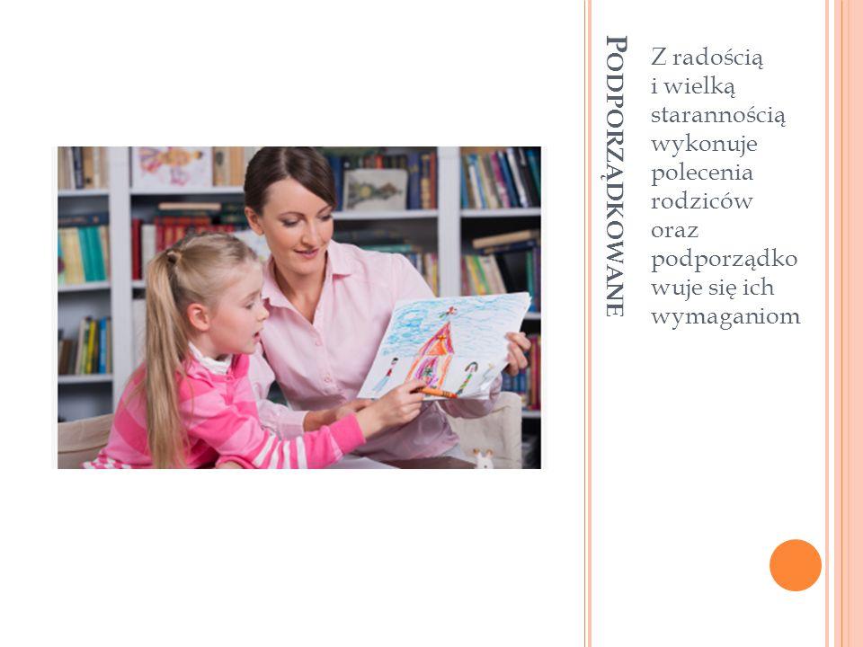 P ODPORZĄDKOWANE Z radością i wielką starannością wykonuje polecenia rodziców oraz podporządko wuje się ich wymaganiom