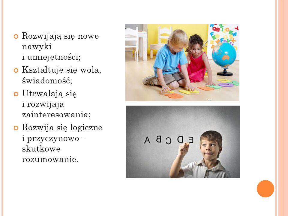 Rozwijają się nowe nawyki i umiejętności; Kształtuje się wola, świadomość; Utrwalają się i rozwijają zainteresowania; Rozwija się logiczne i przyczynowo – skutkowe rozumowanie.