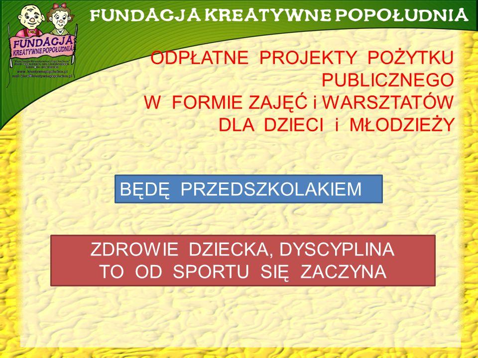 www.kreatywnepopoludnia.pl biuro@kreatywnepopoludnia.pl Realizacja bezpłatnych zajęć, warsztatów i akcji w ramach projektów pożytku publicznego dla osób w wieku 55+.