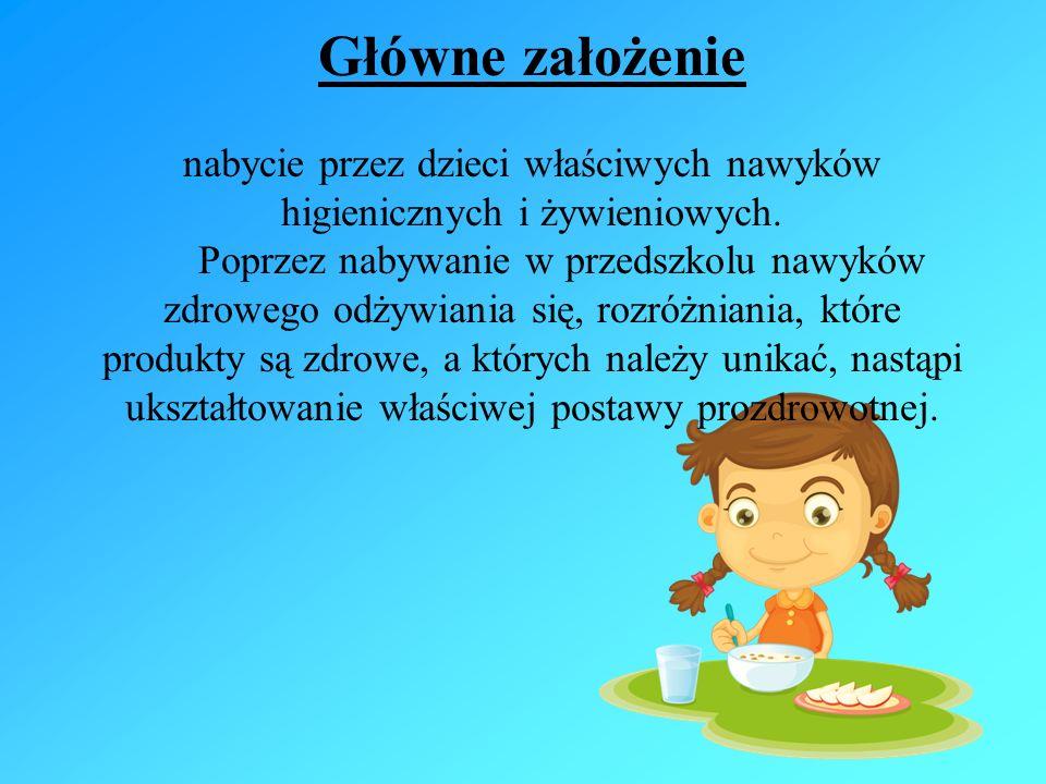 Główne założenie nabycie przez dzieci właściwych nawyków higienicznych i żywieniowych.