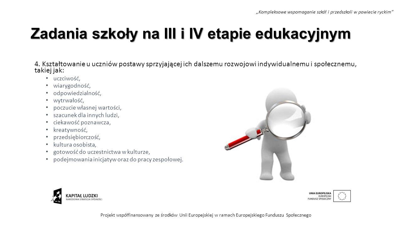 Zadania szkoły na III i IV etapie edukacyjnym 4. Kształtowanie u uczniów postawy sprzyjającej ich dalszemu rozwojowi indywidualnemu i społecznemu, tak