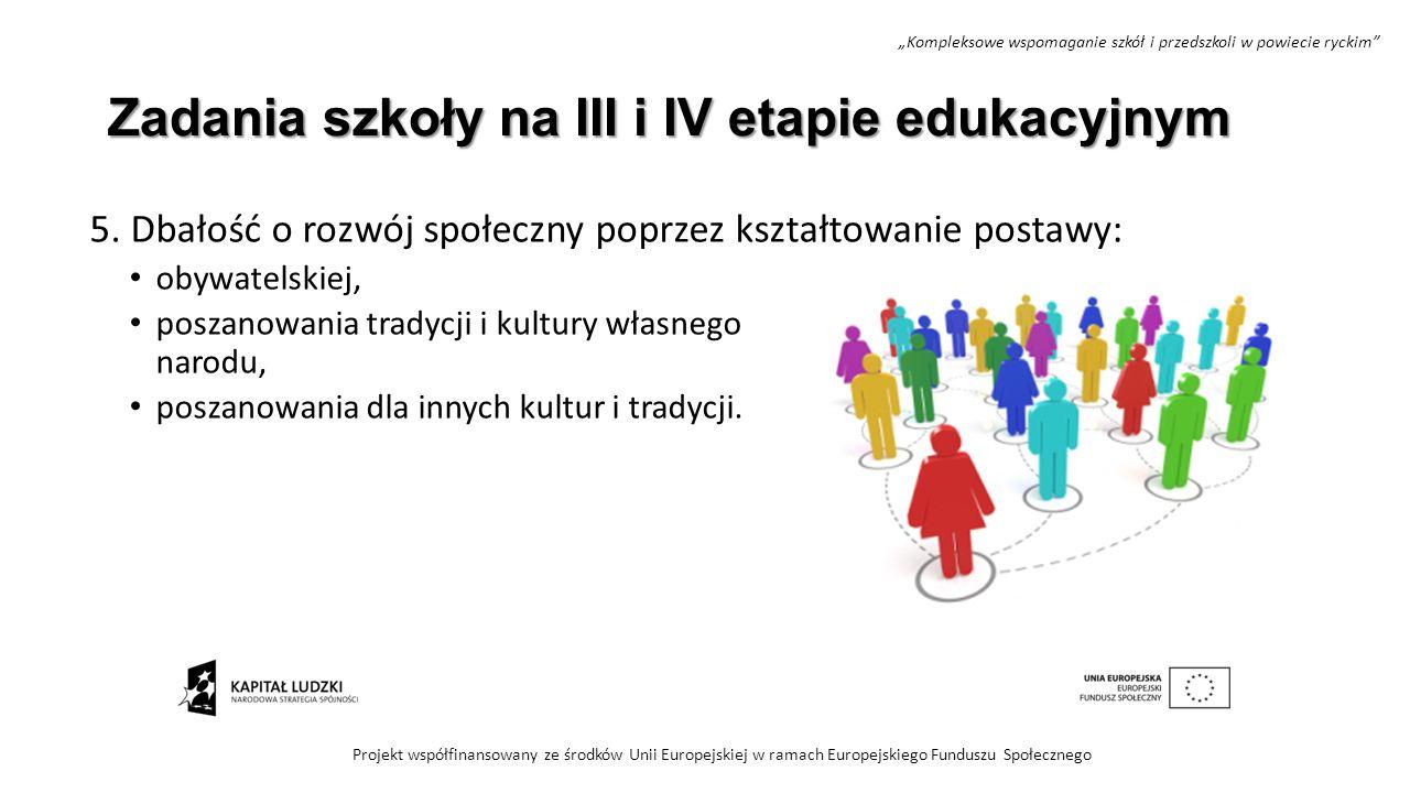 Zadania szkoły na III i IV etapie edukacyjnym 5. Dbałość o rozwój społeczny poprzez kształtowanie postawy: obywatelskiej, poszanowania tradycji i kult