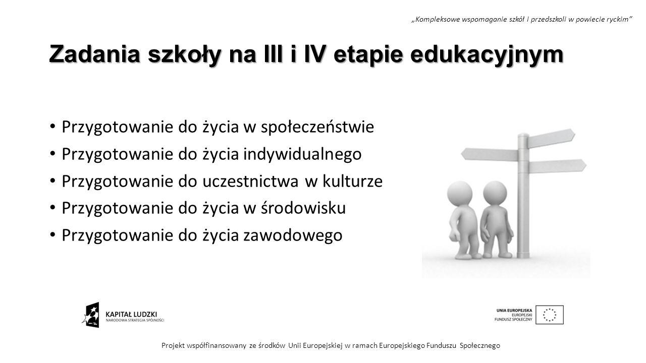 Zadania szkoły na III i IV etapie edukacyjnym Przygotowanie do życia w społeczeństwie Przygotowanie do życia indywidualnego Przygotowanie do uczestnic