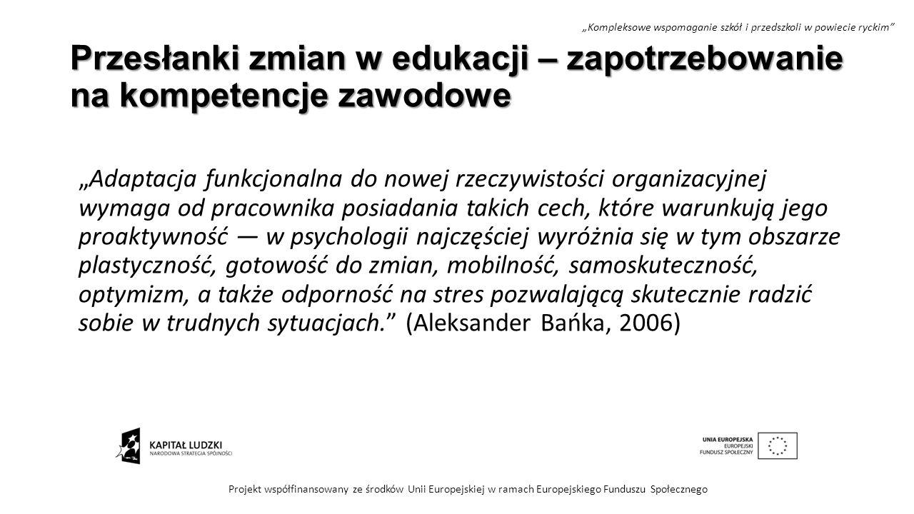 """Przesłanki zmian w edukacji – zapotrzebowanie na kompetencje zawodowe """"Adaptacja funkcjonalna do nowej rzeczywistości organizacyjnej wymaga od pracown"""
