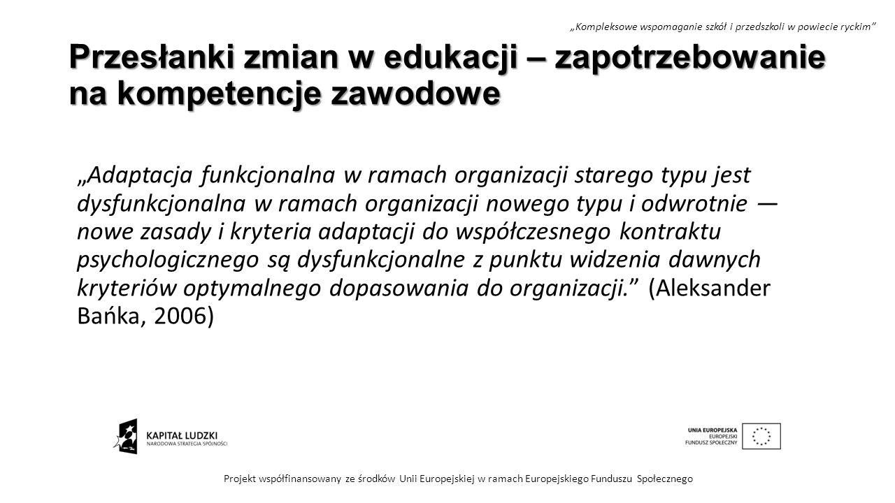 """Przesłanki zmian w edukacji – zapotrzebowanie na kompetencje zawodowe """"Adaptacja funkcjonalna w ramach organizacji starego typu jest dysfunkcjonalna w"""