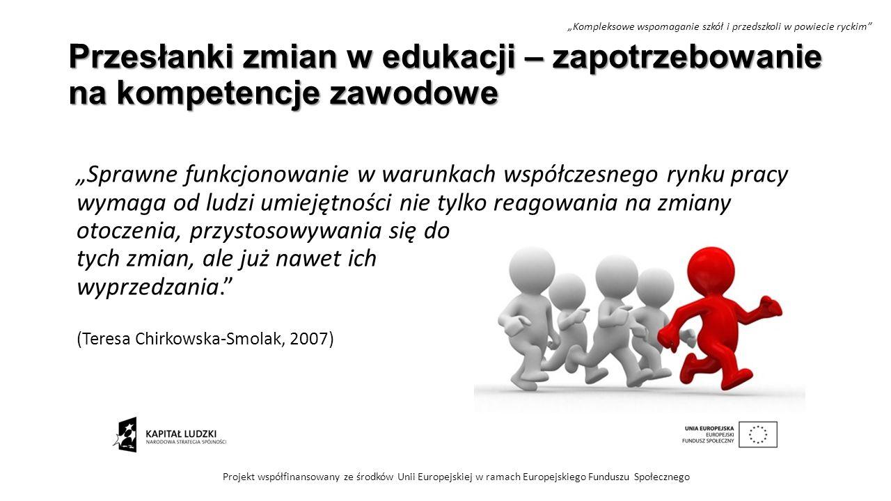 """Przesłanki zmian w edukacji – zapotrzebowanie na kompetencje zawodowe """"Sprawne funkcjonowanie w warunkach współczesnego rynku pracy wymaga od ludzi um"""