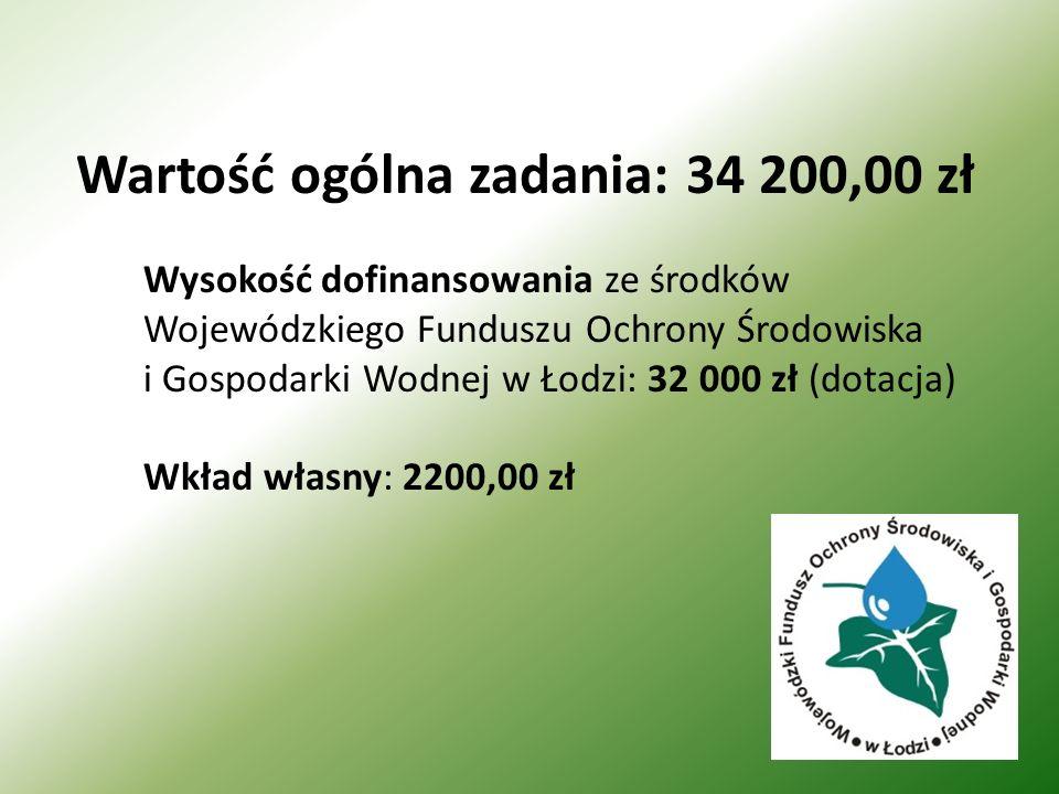 Wysokość dofinansowania ze środków Wojewódzkiego Funduszu Ochrony Środowiska i Gospodarki Wodnej w Łodzi: 32 000 zł (dotacja) Wkład własny: 2200,00 zł Wartość ogólna zadania: 34 200,00 zł