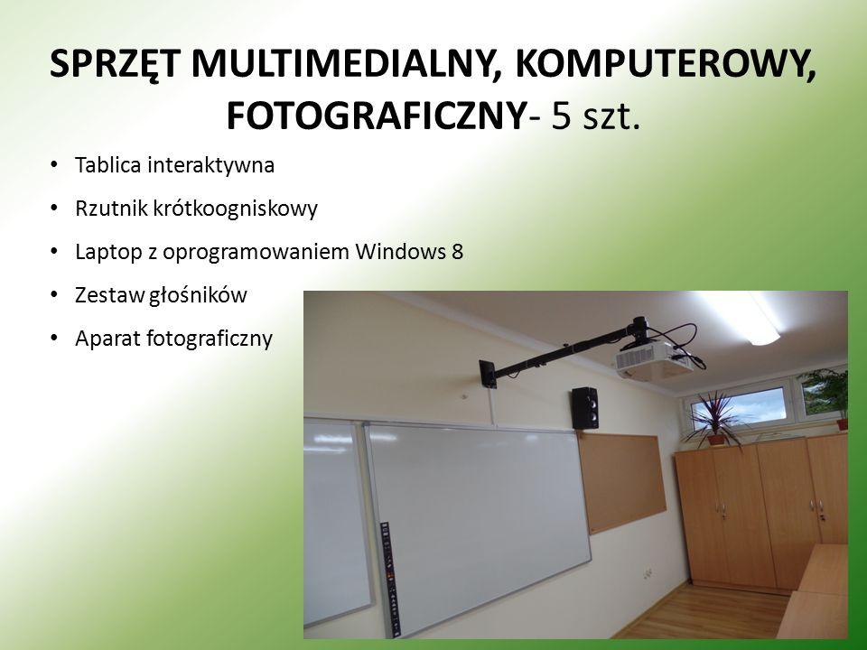 SPRZĘT MULTIMEDIALNY, KOMPUTEROWY, FOTOGRAFICZNY- 5 szt. Tablica interaktywna Rzutnik krótkoogniskowy Laptop z oprogramowaniem Windows 8 Zestaw głośni