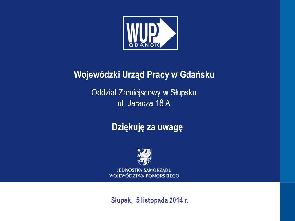 Dziękuję za uwagę Wojewódzki Urząd Pracy w Gdańsku Oddział Zamiejscowy w Słupsku ul. Jaracza 18 A Słupsk, 5 listopada 2014 r.