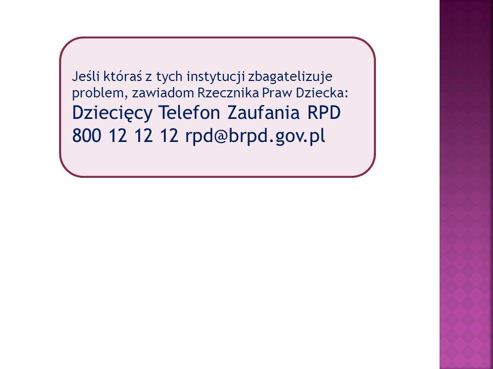 Jeśli któraś z tych instytucji zbagatelizuje problem, zawiadom Rzecznika Praw Dziecka: Dziecięcy Telefon Zaufania RPD 800 12 12 12 rpd@brpd.gov.pl