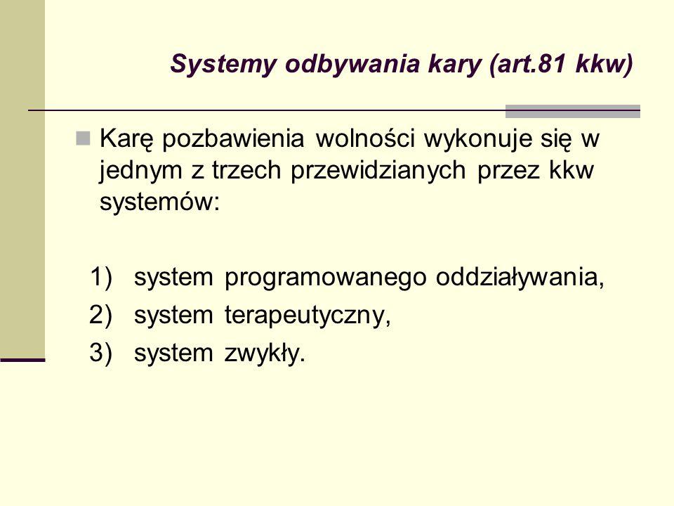 Systemy odbywania kary (art.81 kkw) Karę pozbawienia wolności wykonuje się w jednym z trzech przewidzianych przez kkw systemów: 1) system programowane