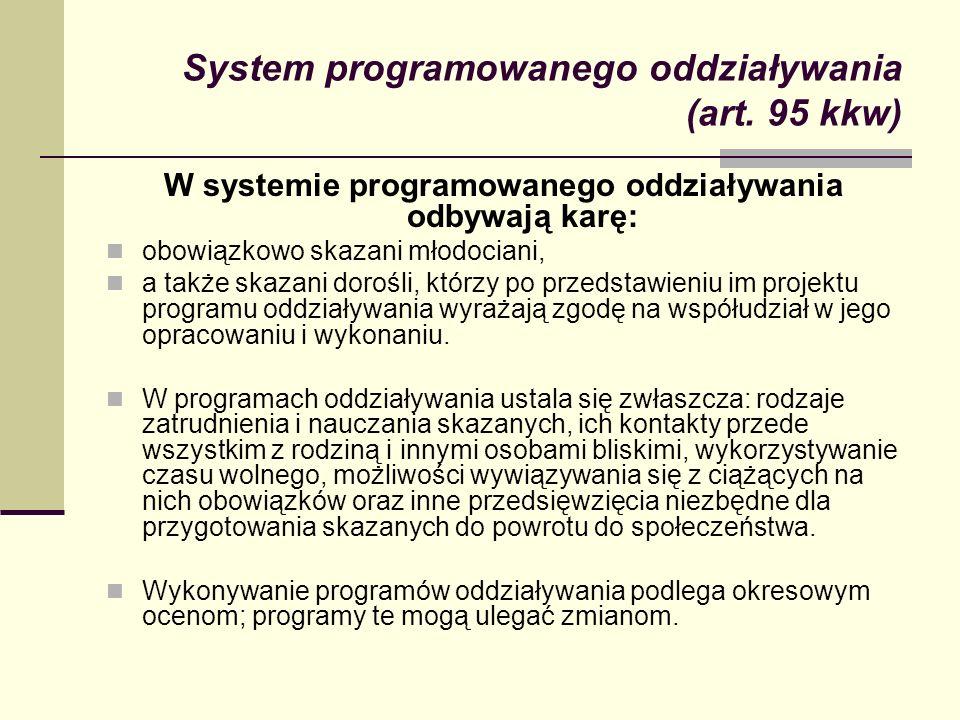 System programowanego oddziaływania (art. 95 kkw) W systemie programowanego oddziaływania odbywają karę: obowiązkowo skazani młodociani, a także skaza