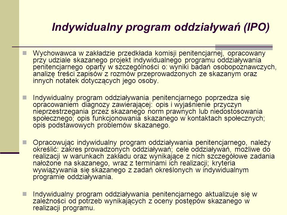 Indywidualny program oddziaływań (IPO) Wychowawca w zakładzie przedkłada komisji penitencjarnej, opracowany przy udziale skazanego projekt indywidualn