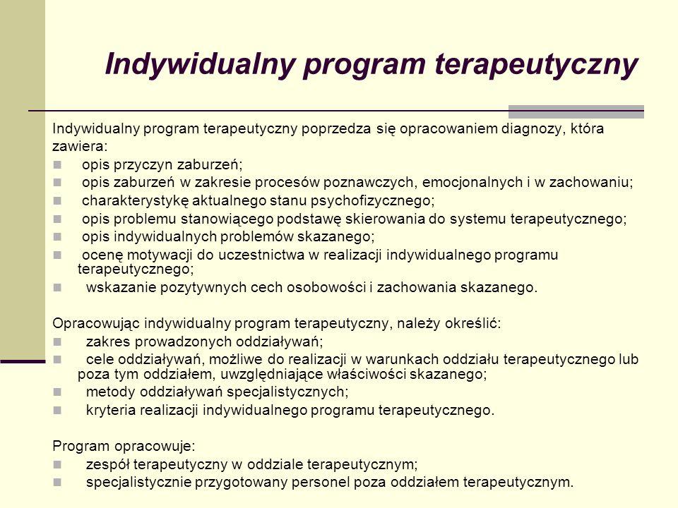 Indywidualny program terapeutyczny Indywidualny program terapeutyczny poprzedza się opracowaniem diagnozy, która zawiera: opis przyczyn zaburzeń; opis