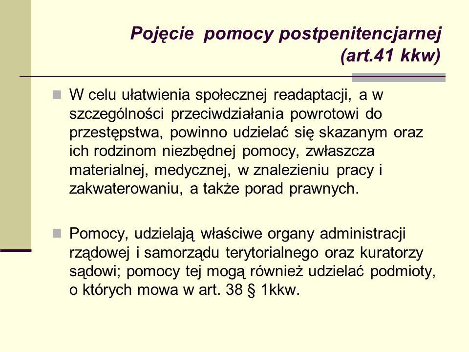 Pojęcie pomocy postpenitencjarnej (art.41 kkw) W celu ułatwienia społecznej readaptacji, a w szczególności przeciwdziałania powrotowi do przestępstwa,