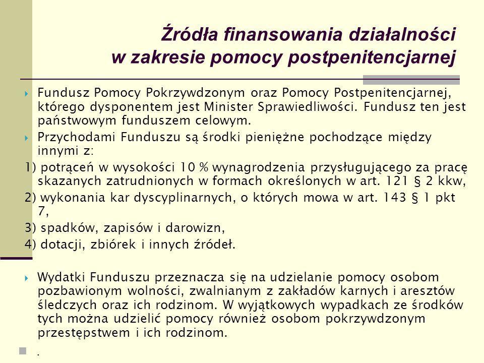 Źródła finansowania działalności w zakresie pomocy postpenitencjarnej  Fundusz Pomocy Pokrzywdzonym oraz Pomocy Postpenitencjarnej, którego dysponent