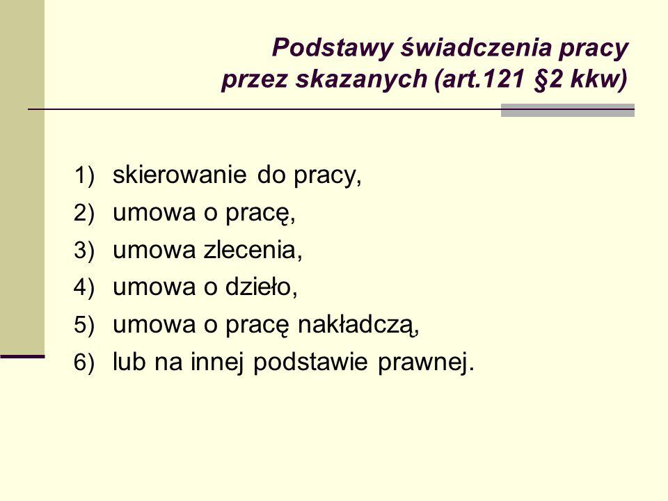 Podstawy świadczenia pracy przez skazanych (art.121 §2 kkw) 1) skierowanie do pracy, 2) umowa o pracę, 3) umowa zlecenia, 4) umowa o dzieło, 5) umowa