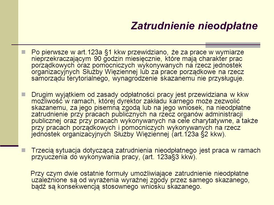 Zatrudnienie nieodpłatne Po pierwsze w art.123a §1 kkw przewidziano, że za prace w wymiarze nieprzekraczającym 90 godzin miesięcznie, które mają chara