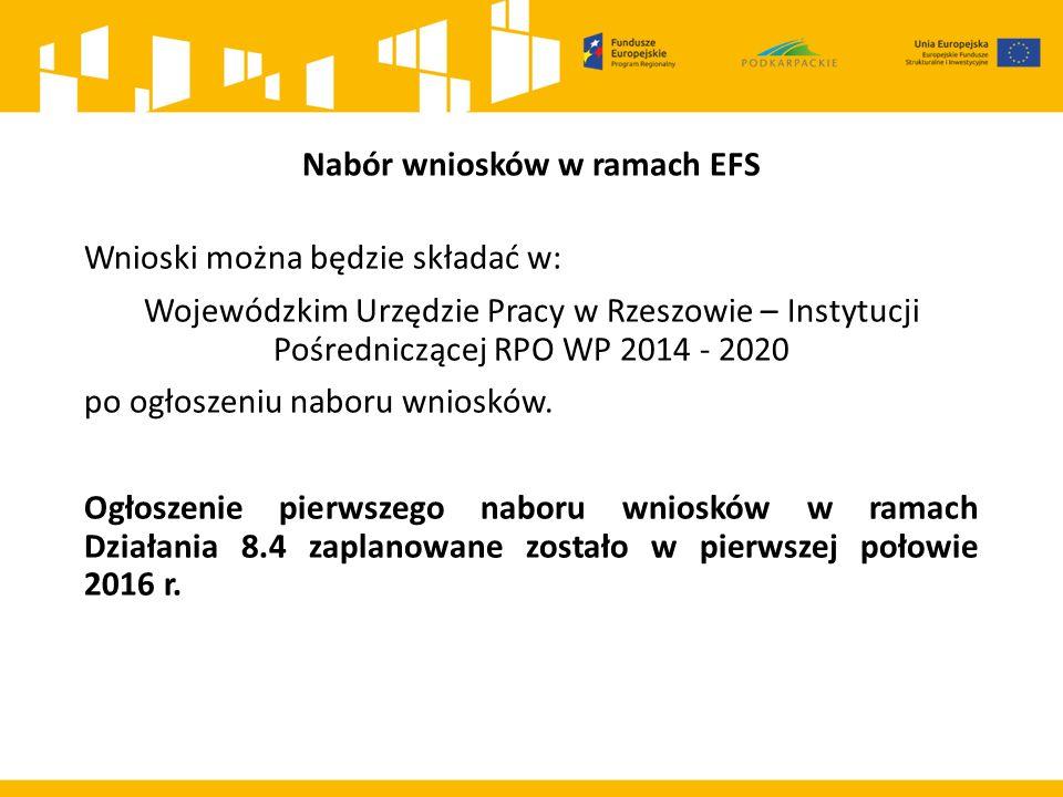Nabór wniosków w ramach EFS Wnioski można będzie składać w: Wojewódzkim Urzędzie Pracy w Rzeszowie – Instytucji Pośredniczącej RPO WP 2014 - 2020 po ogłoszeniu naboru wniosków.