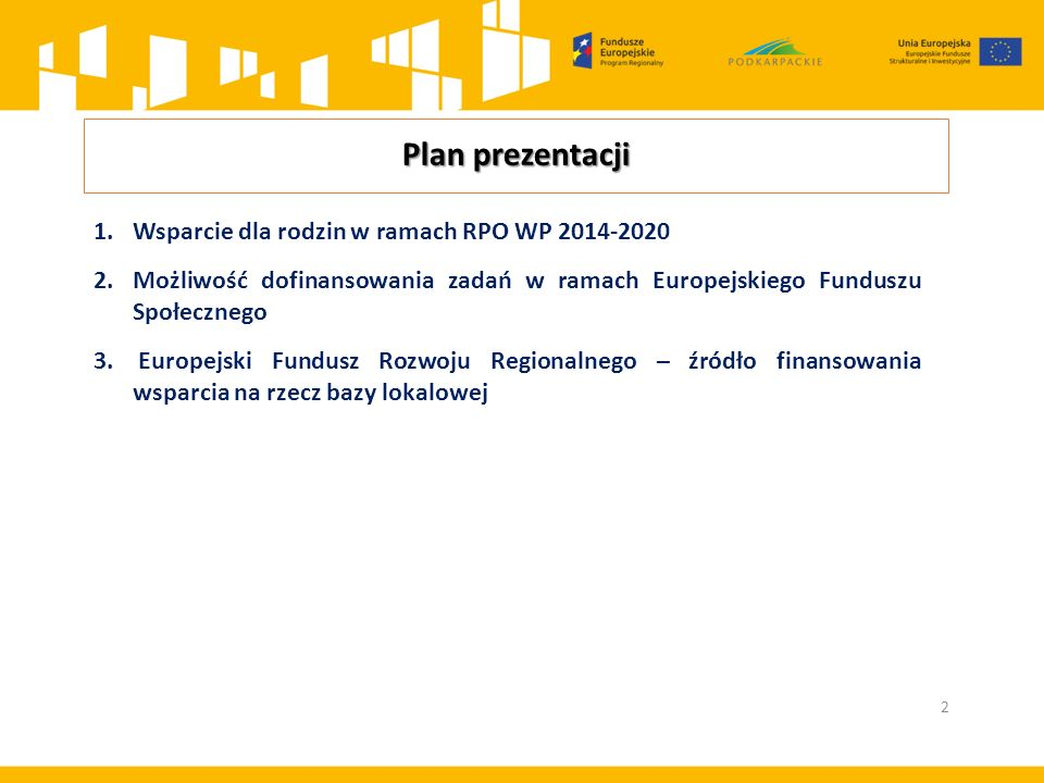 Plan prezentacji 2 1.Wsparcie dla rodzin w ramach RPO WP 2014-2020 2.Możliwość dofinansowania zadań w ramach Europejskiego Funduszu Społecznego 3.