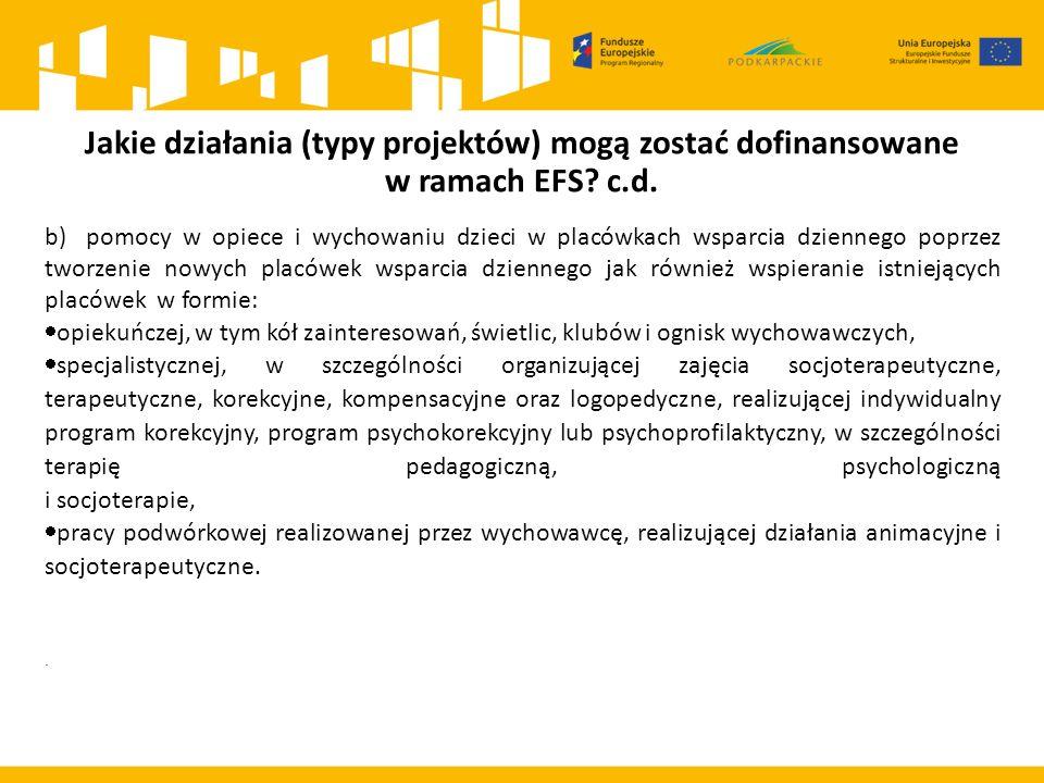 Jakie działania (typy projektów) mogą zostać dofinansowane w ramach EFS.