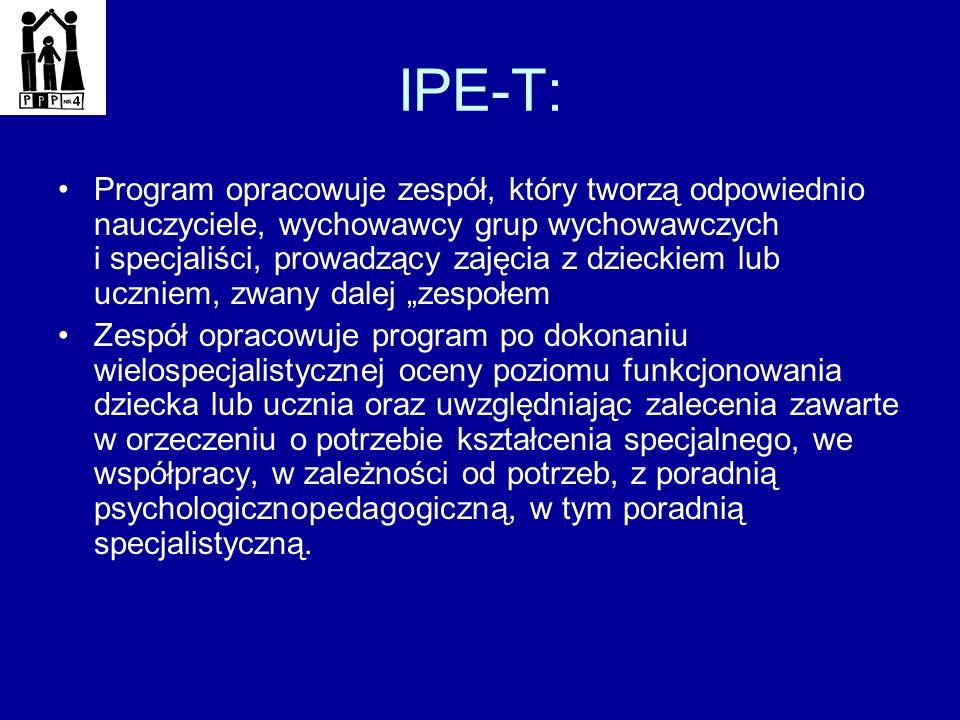 IPE-T: Program opracowuje zespół, który tworzą odpowiednio nauczyciele, wychowawcy grup wychowawczych i specjaliści, prowadzący zajęcia z dzieckiem lu