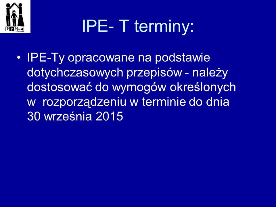 IPE- T terminy: IPE-Ty opracowane na podstawie dotychczasowych przepisów - należy dostosować do wymogów określonych w rozporządzeniu w terminie do dni