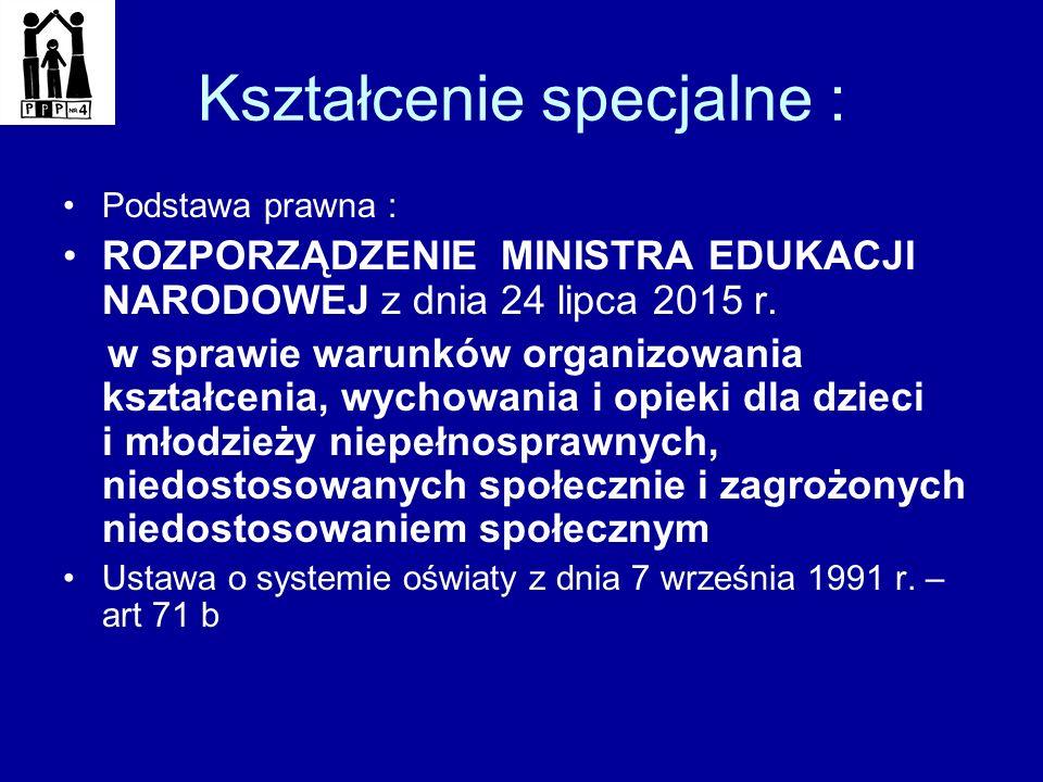 Kształcenie specjalne : Podstawa prawna : ROZPORZĄDZENIE MINISTRA EDUKACJI NARODOWEJ z dnia 24 lipca 2015 r. w sprawie warunków organizowania kształce