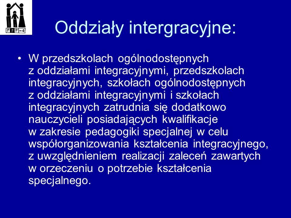 Oddziały intergracyjne: W przedszkolach ogólnodostępnych z oddziałami integracyjnymi, przedszkolach integracyjnych, szkołach ogólnodostępnych z oddzia