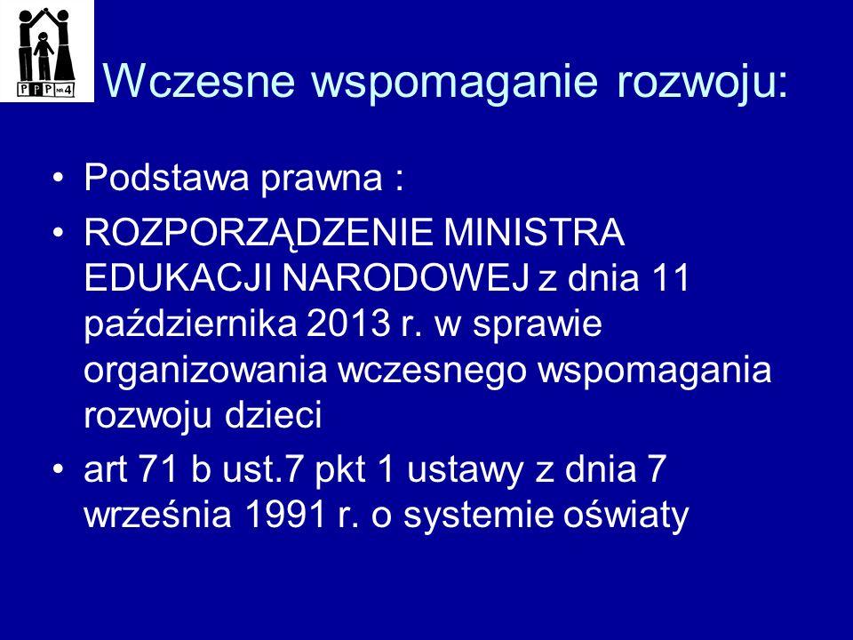 Wczesne wspomaganie rozwoju: Podstawa prawna : ROZPORZĄDZENIE MINISTRA EDUKACJI NARODOWEJ z dnia 11 października 2013 r. w sprawie organizowania wczes