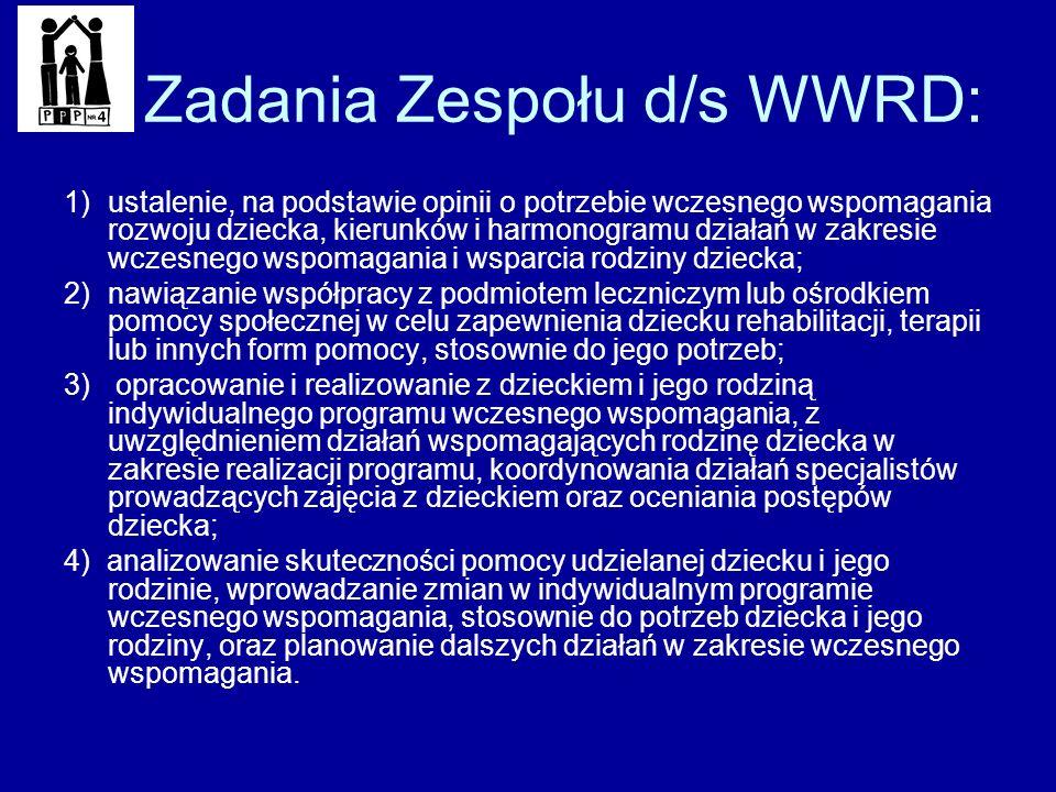 Zadania Zespołu d/s WWRD: 1)ustalenie, na podstawie opinii o potrzebie wczesnego wspomagania rozwoju dziecka, kierunków i harmonogramu działań w zakre