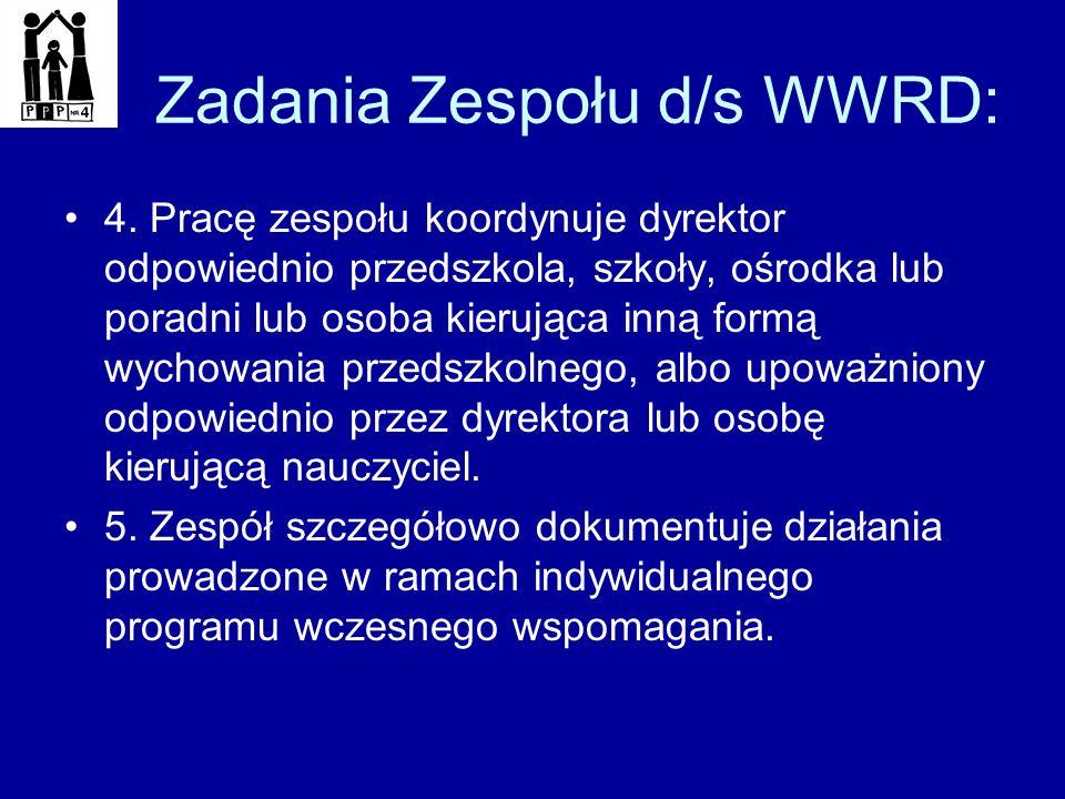 Zadania Zespołu d/s WWRD: 4. Pracę zespołu koordynuje dyrektor odpowiednio przedszkola, szkoły, ośrodka lub poradni lub osoba kierująca inną formą wyc