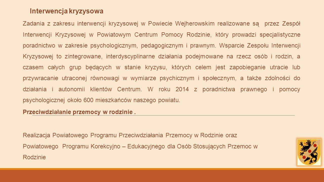 Interwencja kryzysowa Zadania z zakresu interwencji kryzysowej w Powiecie Wejherowskim realizowane są przez Zespół Interwencji Kryzysowej w Powiatowym Centrum Pomocy Rodzinie, który prowadzi specjalistyczne poradnictwo w zakresie psychologicznym, pedagogicznym i prawnym.