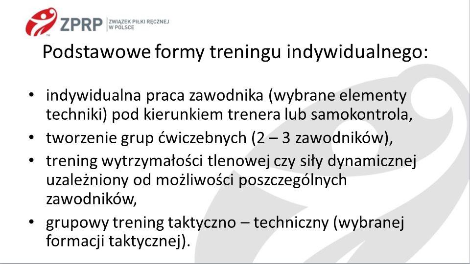 Podstawowe formy treningu indywidualnego: indywidualna praca zawodnika (wybrane elementy techniki) pod kierunkiem trenera lub samokontrola, tworzenie