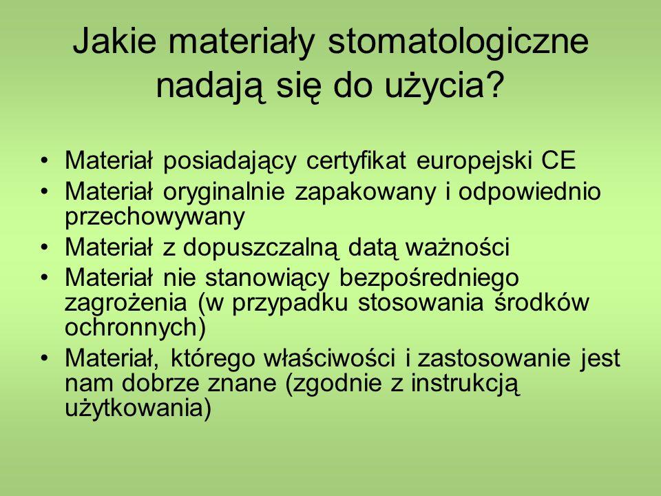 Klasyfikacja materiałów stomatologicznych ze względu na zastosowanie (uproszczona) 1.Materiały podstawowe, stosowane w fazie finalnej procesu leczniczego jako trwałe elementy 2.Materiały pomocnicze, stosowane czasowo, przejściowo 3.Materiały i leki stomatologiczne do stosowania miejscowego