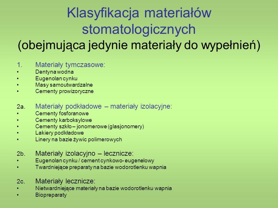 Klasyfikacja materiałów stomatologicznych (obejmująca jedynie materiały do wypełnień) 1.Materiały tymczasowe: Dentyna wodna Eugenolan cynku Masy samoutwardzalne Cementy prowizoryczne 2a.