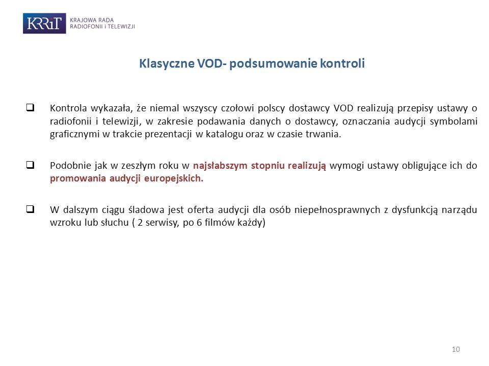 10  Kontrola wykazała, że niemal wszyscy czołowi polscy dostawcy VOD realizują przepisy ustawy o radiofonii i telewizji, w zakresie podawania danych