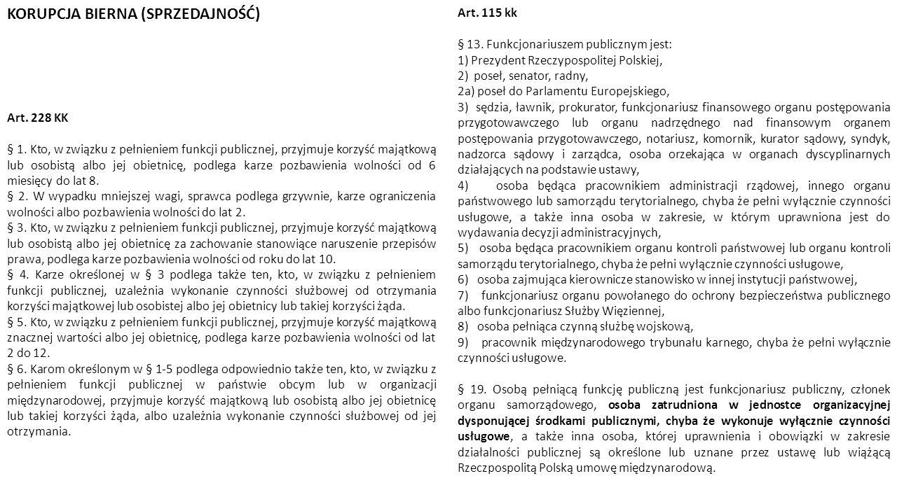 Art. 115 kk § 13. Funkcjonariuszem publicznym jest: 1) Prezydent Rzeczypospolitej Polskiej, 2) poseł, senator, radny, 2a) poseł do Parlamentu Europejs