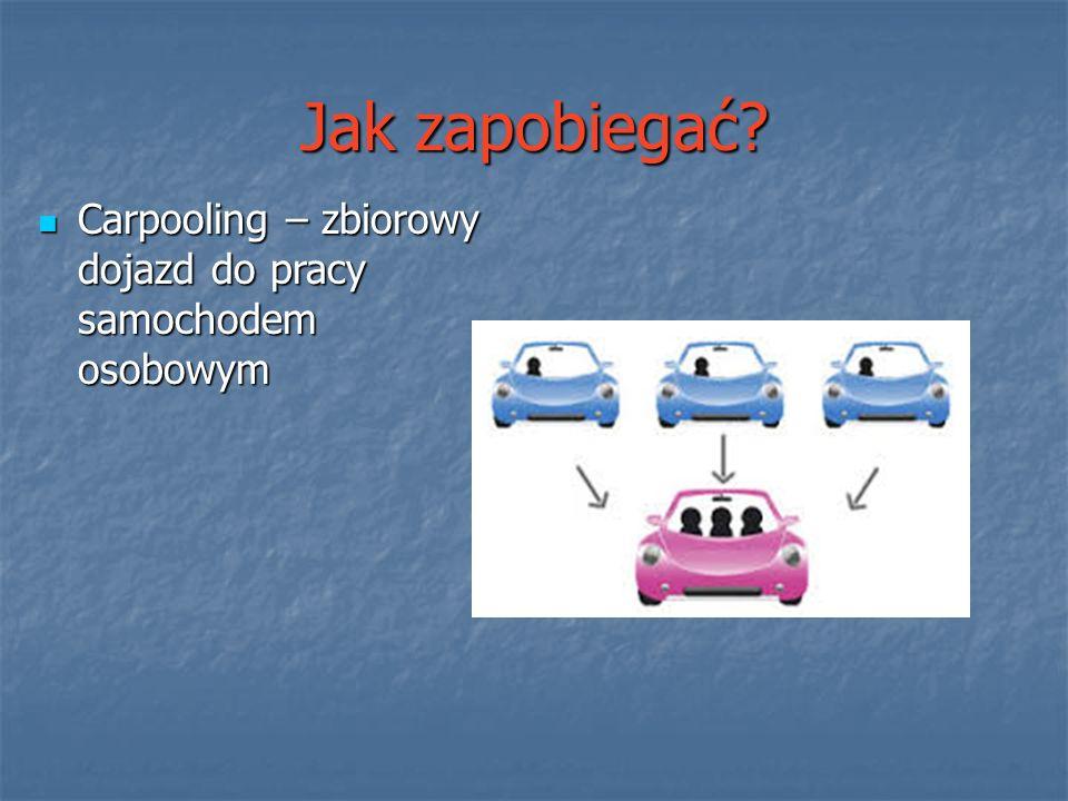 Jak zapobiegać? Carpooling – zbiorowy dojazd do pracy samochodem osobowym Carpooling – zbiorowy dojazd do pracy samochodem osobowym