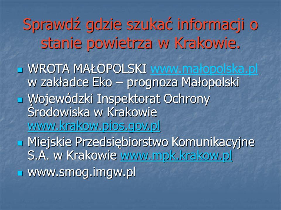 Sprawdź gdzie szukać informacji o stanie powietrza w Krakowie. WROTA MAŁOPOLSKI w zakładce Eko – prognoza Małopolski WROTA MAŁOPOLSKI www.małopolska.p