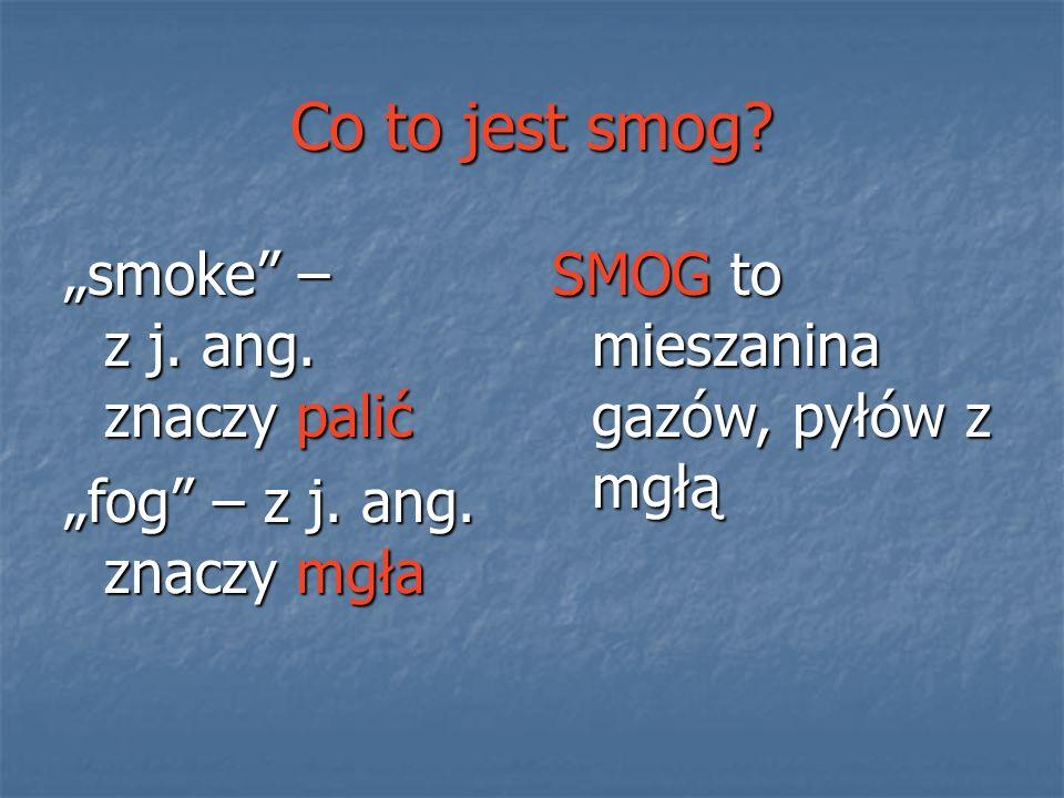 """Co to jest smog? """"smoke"""" – z j. ang. znaczy palić """"fog"""" – z j. ang. znaczy mgła SMOG to mieszanina gazów, pyłów z mgłą"""
